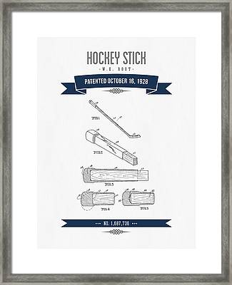 1928 Hockey Stick Patent Drawing - Retro Navy Blue Framed Print by Aged Pixel