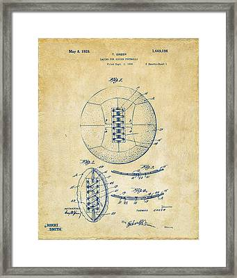 1928 Soccer Ball Lacing Patent Artwork - Vintage Framed Print by Nikki Marie Smith
