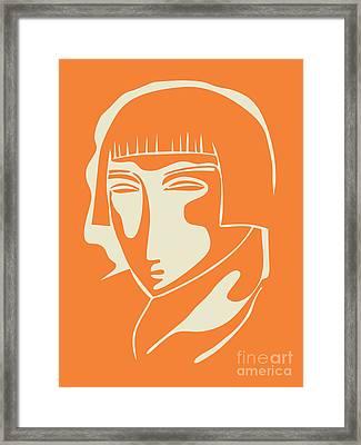 1928 Woman Face   Orange Framed Print by Igor Kislev