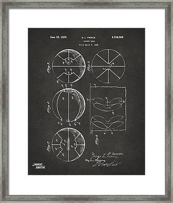 1929 Basketball Patent Artwork - Gray Framed Print by Nikki Marie Smith