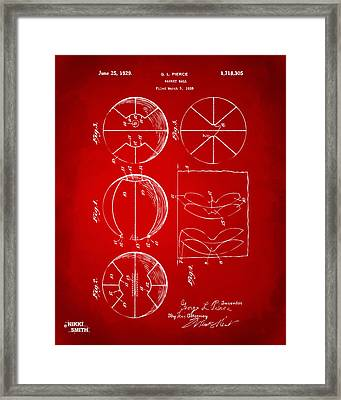1929 Basketball Patent Artwork - Red Framed Print by Nikki Marie Smith