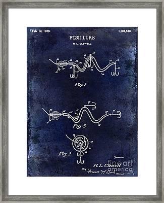 1929 Fish Lure Patent Drawing Blue Framed Print by Jon Neidert