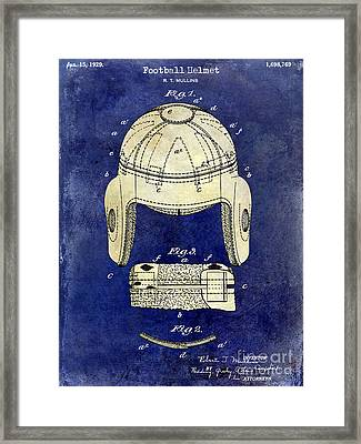 1929 Football Helmet Patent Drawing 2 Tone Blue Framed Print by Jon Neidert