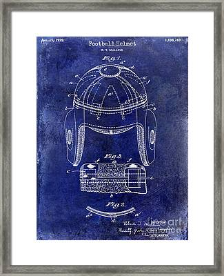 1929 Football Helmet Patent Drawing Blue Framed Print by Jon Neidert