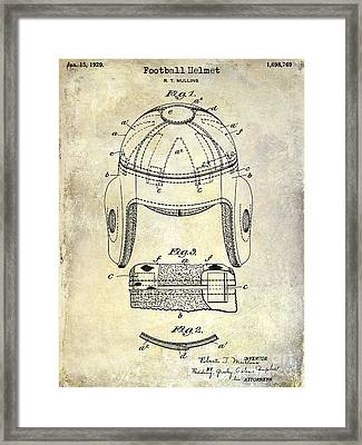 1929 Football Helmet Patent Drawing Framed Print by Jon Neidert