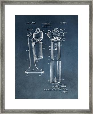 1930 Drink Mixer Patent Blue Framed Print by Dan Sproul