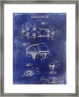1930 Football Cleats Patent Drawing Blue Framed Print by Jon Neidert