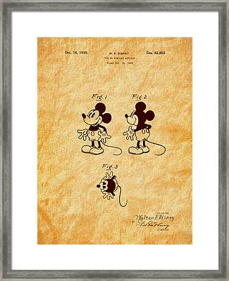 1930 Mickey Mouse Toy Patent Art Framed Print by Barry Jones