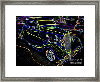 1930s Ford Coupe Neon Abstract Framed Print by Gary Whitton