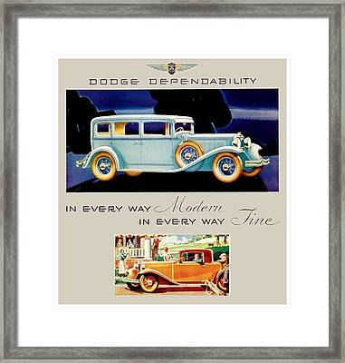 1931 - Dodge Sedan And Coupe Automobile Advertisement - Color Framed Print by John Madison