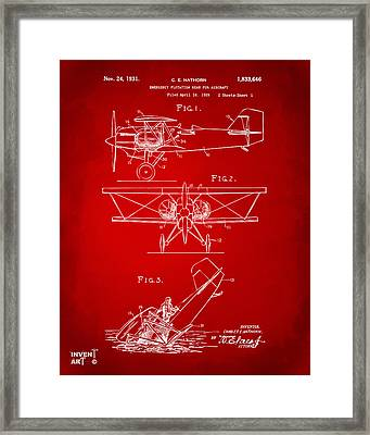 1931 Aircraft Emergency Floatation Patent Red Framed Print by Nikki Marie Smith