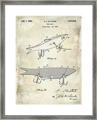 1931 Fish Bait Patent Drawing Framed Print by Jon Neidert