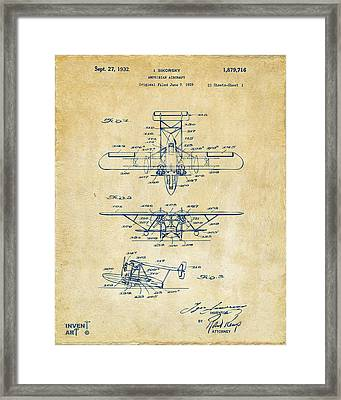 1932 Amphibian Aircraft Patent Vintage Framed Print by Nikki Marie Smith