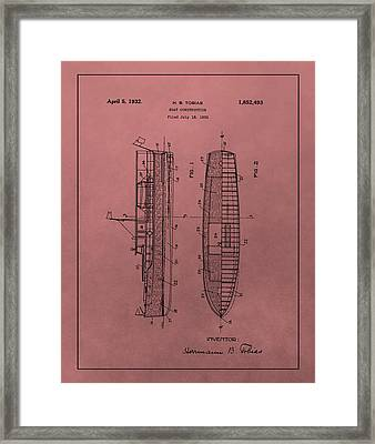 1932 Boat Patent Red Framed Print by Dan Sproul