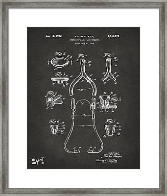 1932 Medical Stethoscope Patent Artwork - Gray Framed Print by Nikki Marie Smith