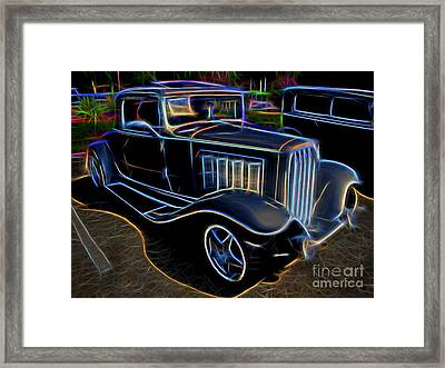 1932 Nash Coupe Antique Car - Neon Framed Print by Gary Whitton