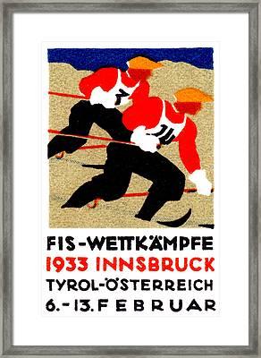 1933 Austrian Ski Race Poster Framed Print by Historic Image