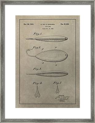 1933 Fish Lure Patent Framed Print by Dan Sproul