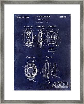 1933 Watch Case Patent Drawing Blue Framed Print by Jon Neidert