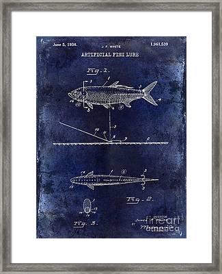 1934 Artificial Fish Lure Patent Drawing Blue Framed Print by Jon Neidert