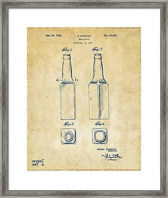 1934 Beer Bottle Patent Artwork - Vintage Framed Print by Nikki Marie Smith