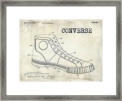 1934 Converse Shoe Patent Drawing Framed Print by Jon Neidert