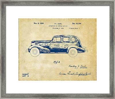 1934 La Salle Automobile Patent 3 Artwork Vintage Framed Print by Nikki Marie Smith