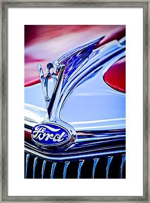1935 Ford Cabriolet Resto-mod Hood Ornament - Emblem -0842c Framed Print by Jill Reger