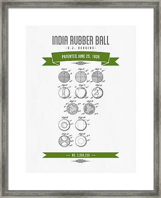 1935 India Rubber Ball Patent Drawing - Retro Green Framed Print by Aged Pixel