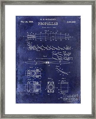 1936 Propeller Patent Drawing Blue Framed Print by Jon Neidert