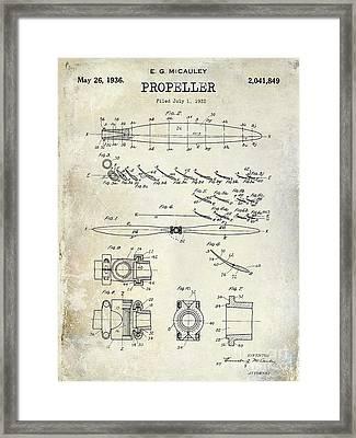 1936 Propeller Patent Drawing Framed Print by Jon Neidert