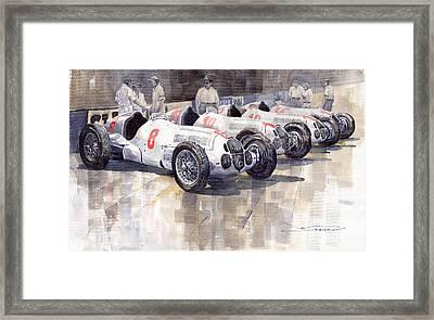 1937 Monaco Gp Team Mercedes Benz W125 Framed Print by Yuriy  Shevchuk