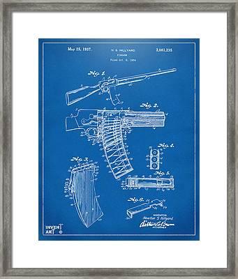 1937 Police Remington Model 8 Magazine Patent Artwork - Blueprin Framed Print by Nikki Marie Smith