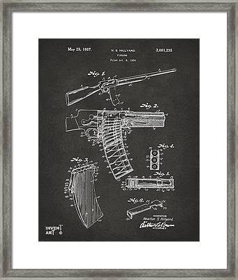 1937 Police Remington Model 8 Magazine Patent Artwork - Gray Framed Print by Nikki Marie Smith