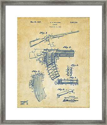 1937 Police Remington Model 8 Magazine Patent Artwork - Vintage Framed Print by Nikki Marie Smith