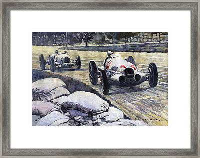 1937 Rudolf Caracciola Winning Swiss Gp W 125 Framed Print by Yuriy Shevchuk