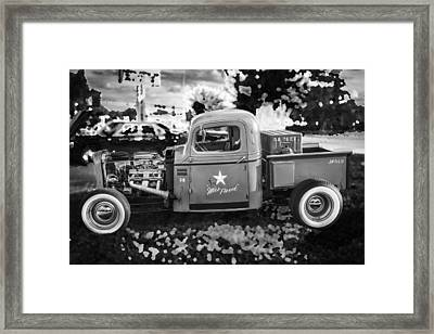 1938 Chevy Pick Up Truck Rat Rod Bw Framed Print by Rich Franco