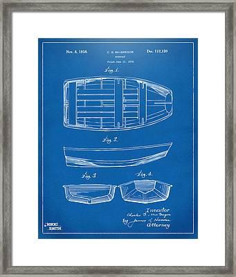 1938 Rowboat Patent Artwork - Blueprint Framed Print by Nikki Marie Smith
