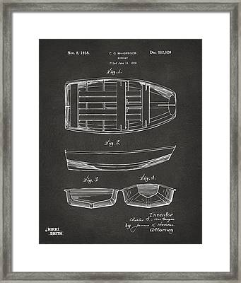 1938 Rowboat Patent Artwork - Gray Framed Print by Nikki Marie Smith