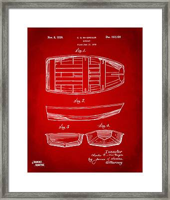 1938 Rowboat Patent Artwork - Red Framed Print by Nikki Marie Smith
