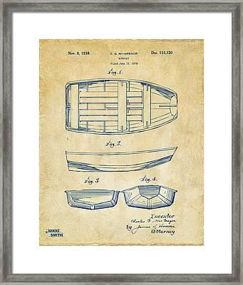 1938 Rowboat Patent Artwork - Vintage Framed Print by Nikki Marie Smith