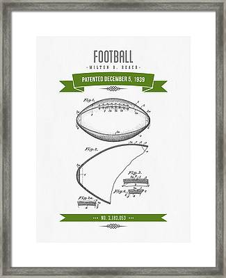 1939 Football Patent Drawing - Retro Green Framed Print by Aged Pixel