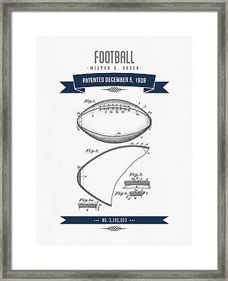1939 Football Patent Drawing - Retro Navy Blue Framed Print by Aged Pixel