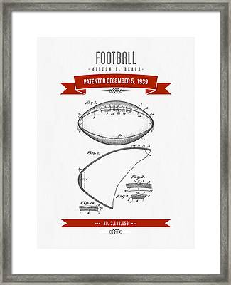 1939 Football Patent Drawing - Retro Red Framed Print by Aged Pixel
