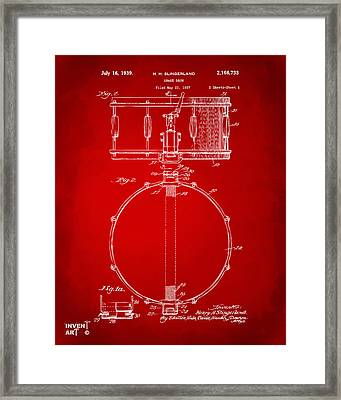 1939 Snare Drum Patent Red Framed Print by Nikki Marie Smith