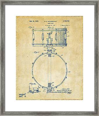 1939 Snare Drum Patent Vintage Framed Print by Nikki Marie Smith