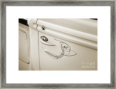 1940 Ford Pickup Truck Door Handle Car Or Automobile In Sepia  3 Framed Print by M K  Miller