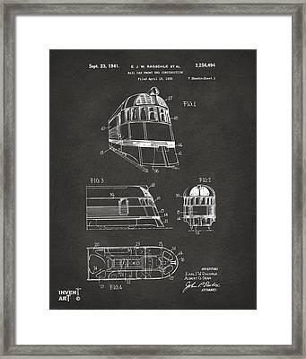 1941 Zephyr Train Patent Gray Framed Print by Nikki Marie Smith