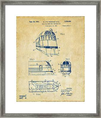 1941 Zephyr Train Patent Vintage Framed Print by Nikki Marie Smith