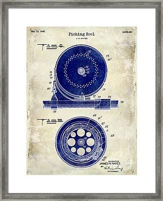 1942 Fishing Reel Patent Drawing 2 Tone Framed Print by Jon Neidert